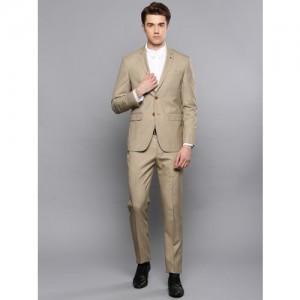 Louis Philippe Men Beige Self-Design Single-Breasted Slim Fit Formal Suit
