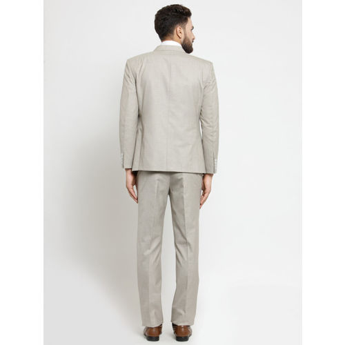 LUXURAZI Men Beige Solid Slim Fit Suit