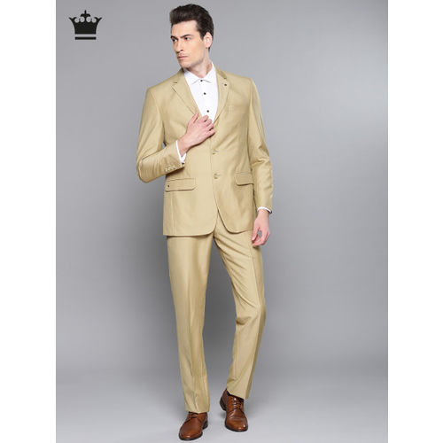 Louis Philippe Beige Single-Breasted Ultra Fit Self-Design Suit