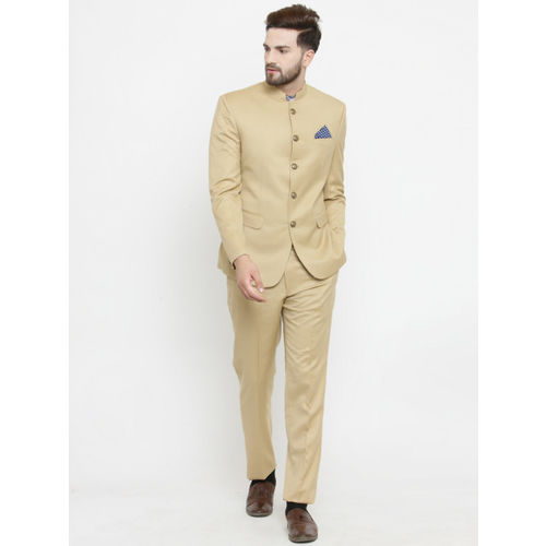 LUXURAZI Beige Solid Single-Breasted Bandhgala Suit