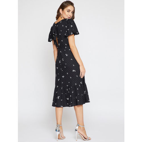 Marie Claire Women Black Printed Fit and Flare Dress
