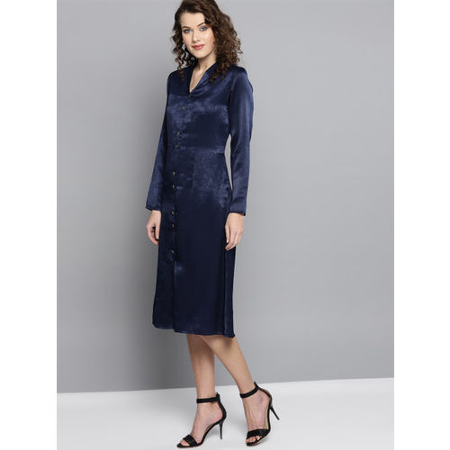Marie Claire Women Navy Blue Solid Satin Finish A-Line Dress