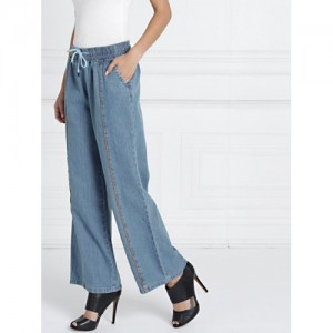 all about you from Deepika Padukone Women Blue Flared Mid-Rise Clean Look Jeans