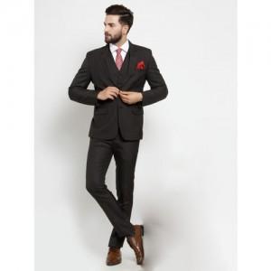 LUXURAZI Men Brown Slim-Fit Single-Breasted Suit