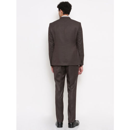 Parx Brown Urban Fit Single-Breasted Formal Suit