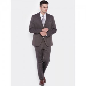 SUITLTD Brown Striped Single-Breasted Slim Fit Formal Suit