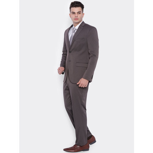 SUITLTD Brown Striped Single-Breasted Slim Fit Formal Suit
