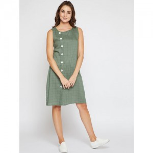 Marie Claire Women Olive Green Checked A-Line Dress