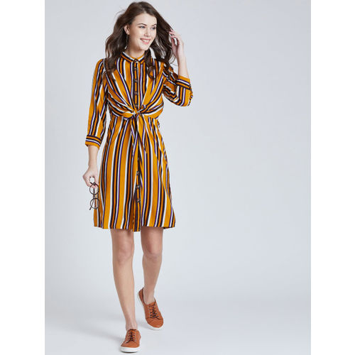 Marie Claire Women Mustard Yellow & Black Striped Shirt Dress