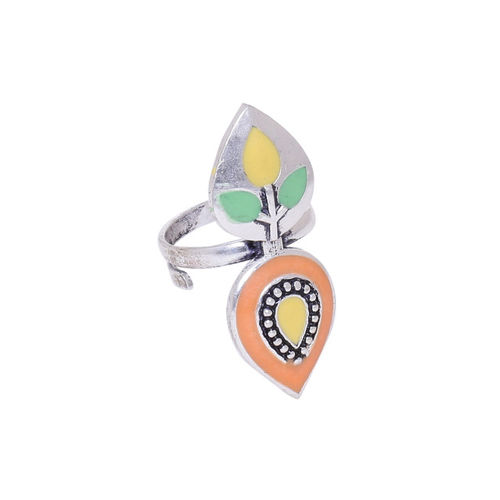 Studio Voylla Silver-Plated Enamelled Ring