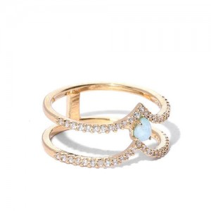 Accessorize Women Sea Green Gold-Plated CZ Stone-Studded Ring