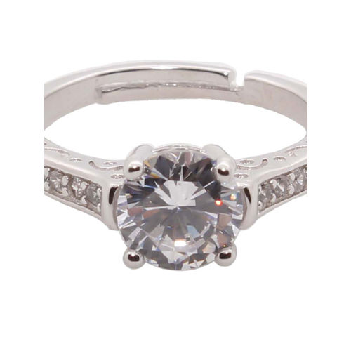 Bellofox Women Silver-Plated Stone-Studded Adjustable Finger Ring