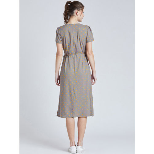 Marie Claire Women Grey Printed Wrap Dress