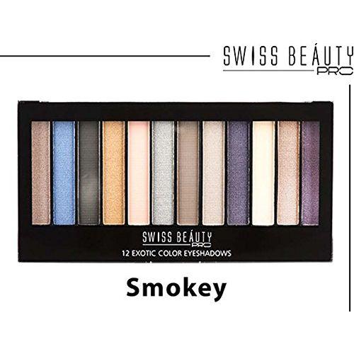 Swiss Beauty Pro SMOKEY 12 Exotic Color Eyeshadow ~ A Combination Of Matte, Semi-Matte & Shimmering Eyeshadow ~ 18g