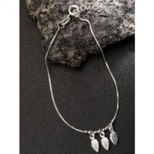 Carlton London 925 Sterling Silver Leaf-Shaped Charm Bracelet