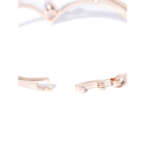 Jewels Galaxy Rose Gold-Plated Swan-Shaped Stone-Studded Handcrafted Bangle-Style Bracelet