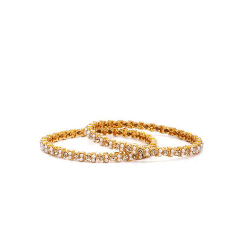 Rubans Women Set of 4 Gold-Plated Pearl Embellished CZ Studded Bangles