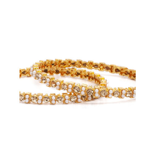 Rubans Women Set of 2 Gold-Plated Pearl Embellished CZ Studded Bangles