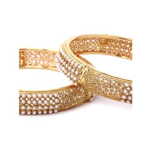 Rubans Set Of 2 Gold-Toned Meenakari Bangles