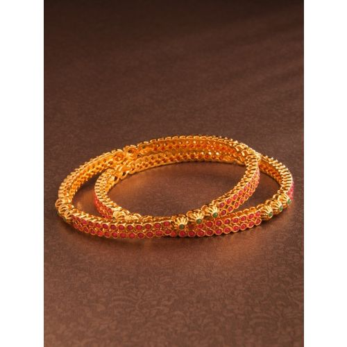 Rubans Set Of 2 Gold Toned Faux Ruby And Emerald Studded Bangles