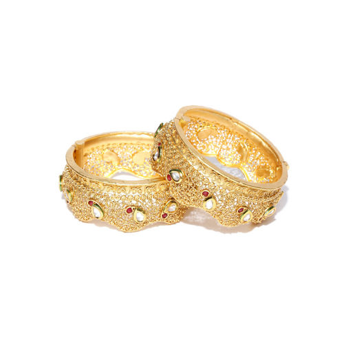 Priyaasi Set of 2 Gold-Plated Kundan-Studded Textured Bangles