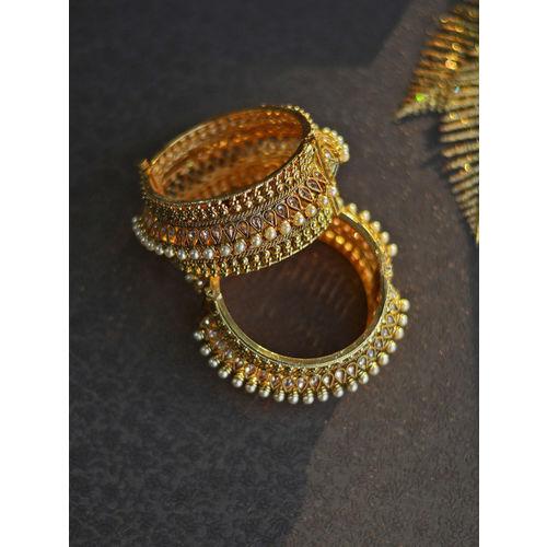 Rubans Set of 2 Gold-Toned Stone-Studded Bangles