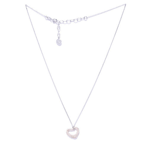 Carlton London Rose Gold-Plated Sterling Silver Stone-Studded Pendant With Chain