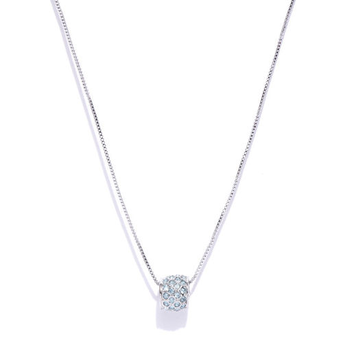 Jewels Galaxy Rhodium-Plated Handcrafted Pendant with Crystals From Swarovski & Chain