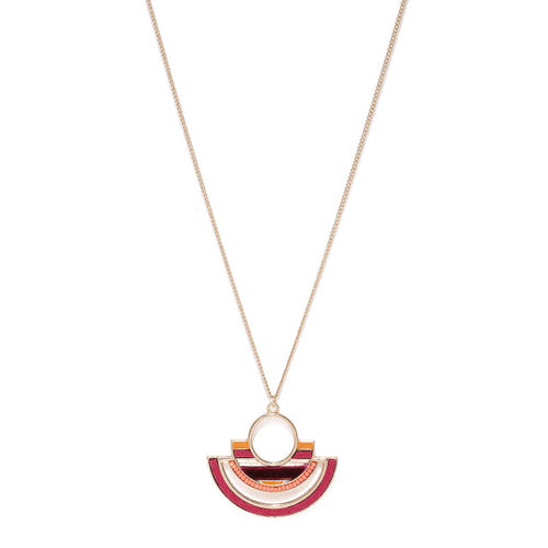 Accessorize Gold-Toned & Pink Pendant With Chain