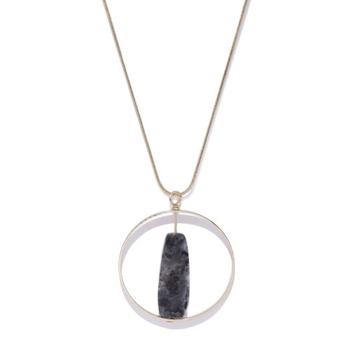 Accessorize Circular Grey & Gold Toned Pendant With Long Chain