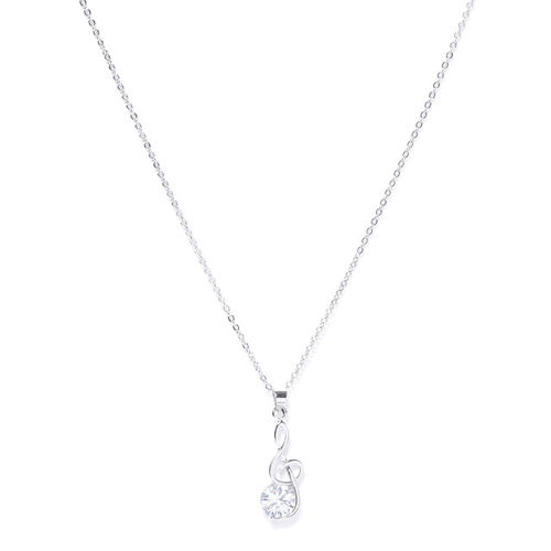 Carlton London Women Silver-Toned Rhodium-Plated CZ Studded Pendant with Chain