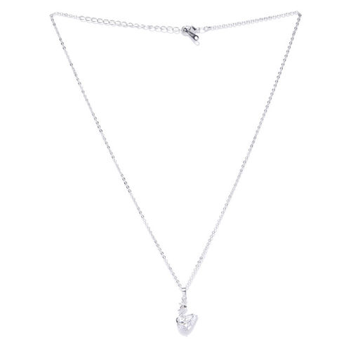 Carlton London Women Silver-Toned Rhodium-Plated CZ Studded Swan-Shaped Pendant with Chain
