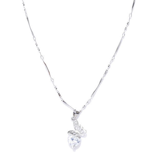 Carlton London Silver-Toned  Pendant with Chain