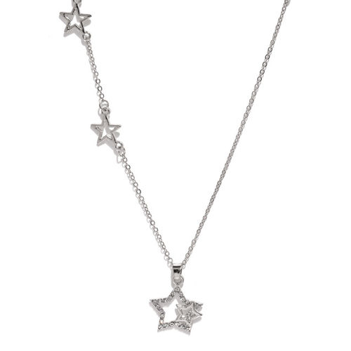 ToniQ Silver-Toned Star Shaped Pendant with Chain