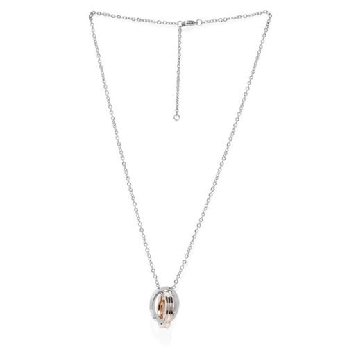Peora Unisex Silver-Toned Couple Pendant with Chain Set