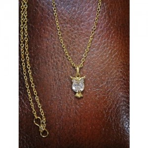 Mahi Gold-Plated Hooting Nocturnal Owl Pendant with Chain