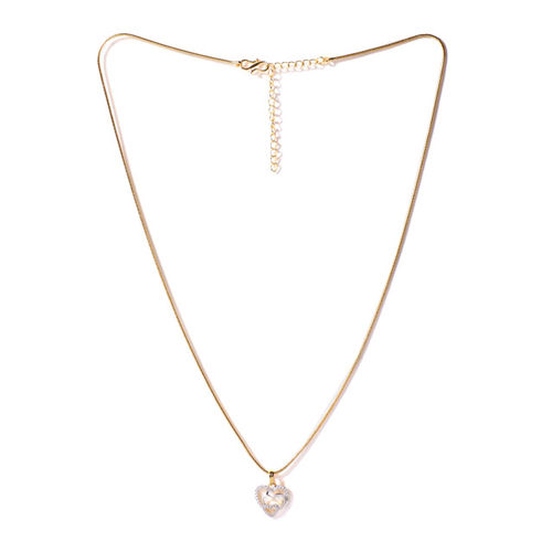 Spargz Valentines Women Triple Heart Gold-Silver Tone CZ Stone Brass Pendant Chain