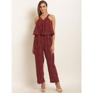 a58fb9cee74 Buy Tokyo Talkies Maroon   Grey Striped Basic Jumpsuit online ...