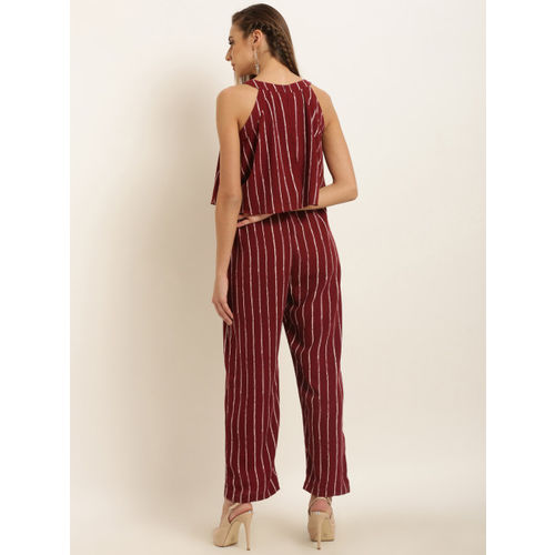 Marie Claire Maroon Striped Basic Jumpsuit
