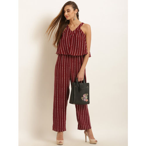 Marie Claire Maroon & White Striped Basic Jumpsuit