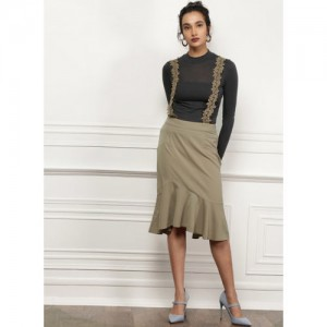 all about you Grey Solid Flared Skirts
