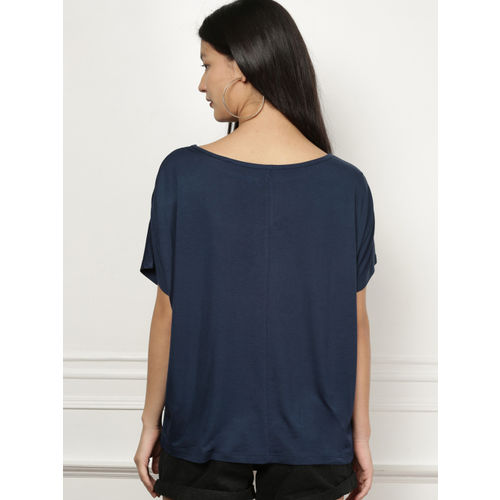 all about you Navy Blue Solid T-Shirt