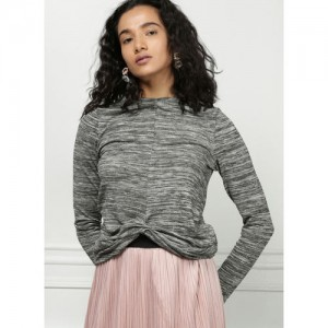 all about you Grey Melange Solid T-shirt