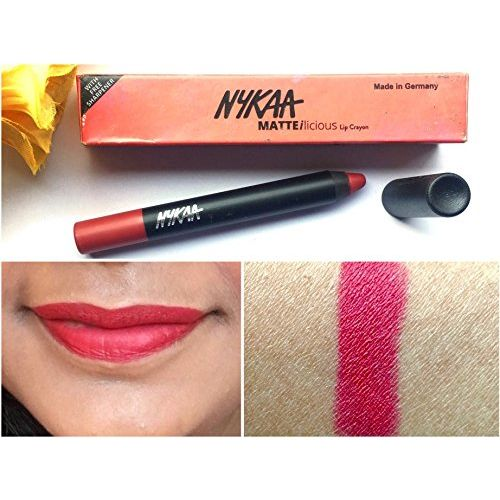 Nykaa MATTE-ilicious Lip Crayon - Hot As Red shade no 01 + Free Nykaa Prove Your Point Cosmetic Sharpener