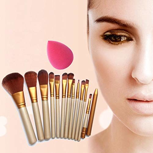 Generic Makeup Brush Set of 12 with storage box + 2 sponge puff (color may vary)