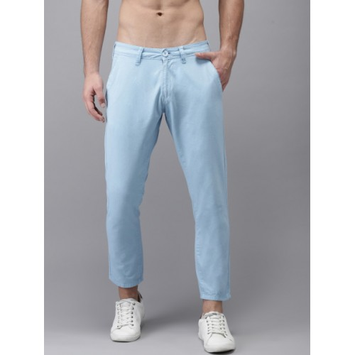 HERE&NOW Blue Cotton Regular Fit Solid Cropped Chinos