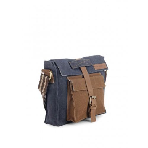 The House of Tara Unisex Navy & Brown Colourblocked Messenger Bag