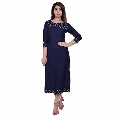 M&D 3/4 Sleeve Gold Print Pure Cotton Calf long Casual kurti for women (Navy Blue)