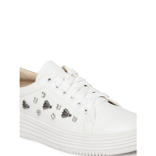 Tresmode White Synthetic Embellished Sneakers shoes