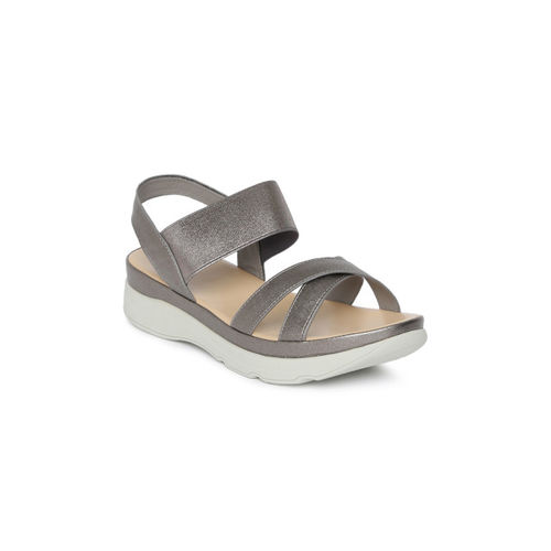 Tresmode Women Silver-Toned Solid Open Toe Flats